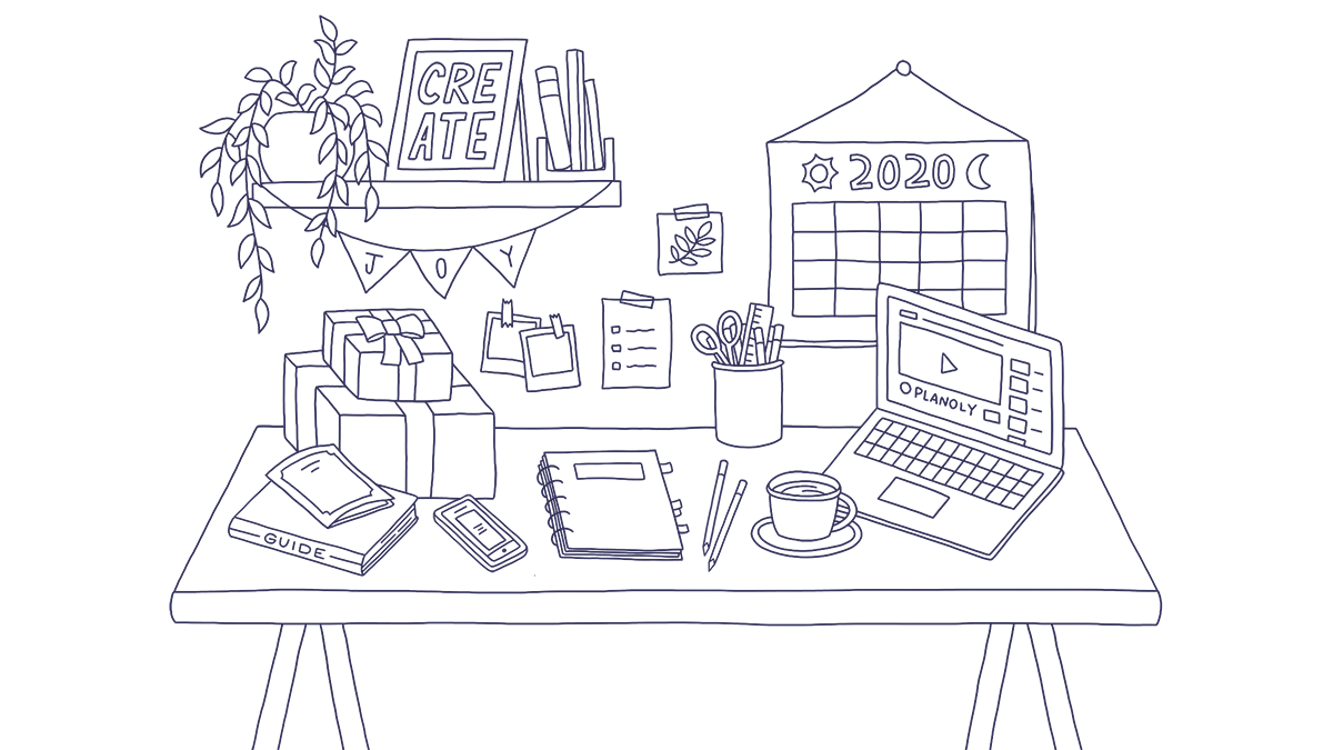 holiday marketing guide desk drawing