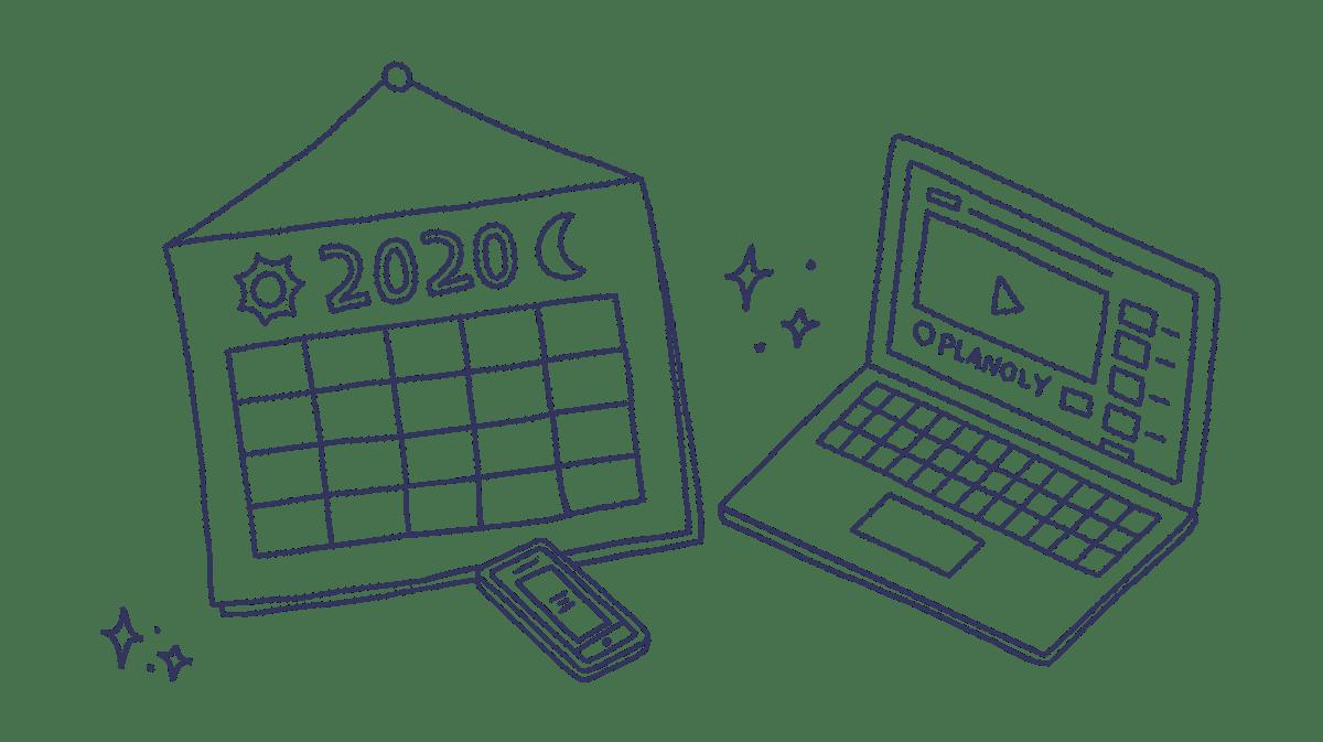plan holiday marketing calendar drawing